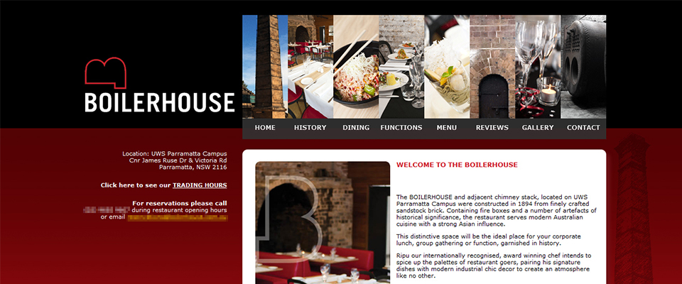 Boilerhouse restaurant website